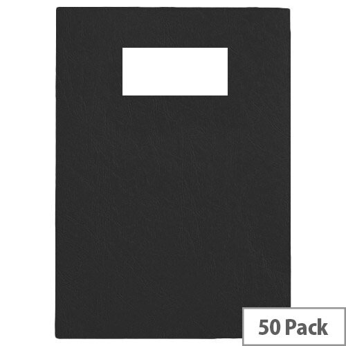 GBC Binding Covers Leatherboard Window 280gsm A4 Black 46705E Pack 25x2