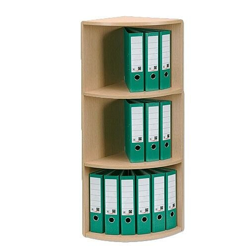 Corner Filing Unit 3-Tier Holds 18 Lever Arch Files Light Oak