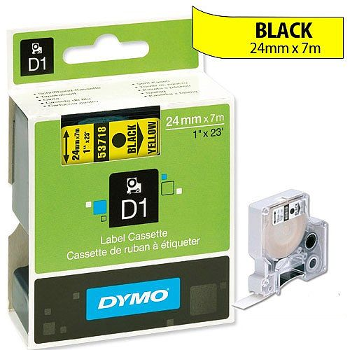 Dymo D1 Tape 53718 24mmx7m Black on Yellow S0720980