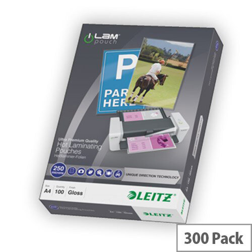 Leitz UDT Laminating Pouch A4 250 micron Pack 100x3
