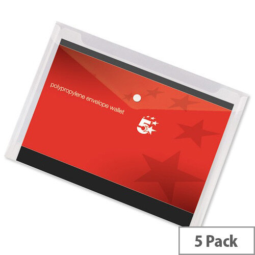 A4 Office Envelope Stud Wallet Plastic Transparent Clear Pack 5 5 Star