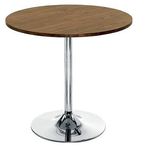 Ellipse Trumpet Base Circular Cafe Table Walnut