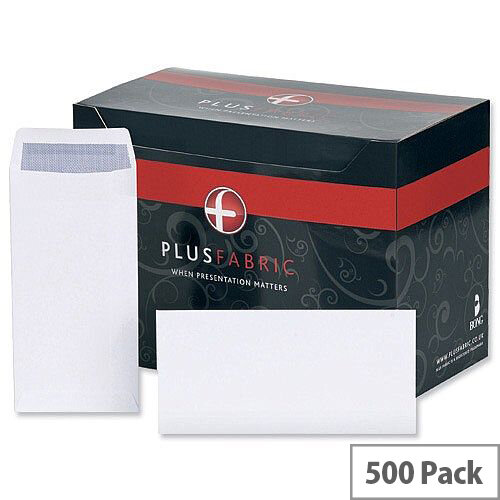 Plus Fabric White DL Envelopes Self Seal Pocket 110gsm Pack of 500