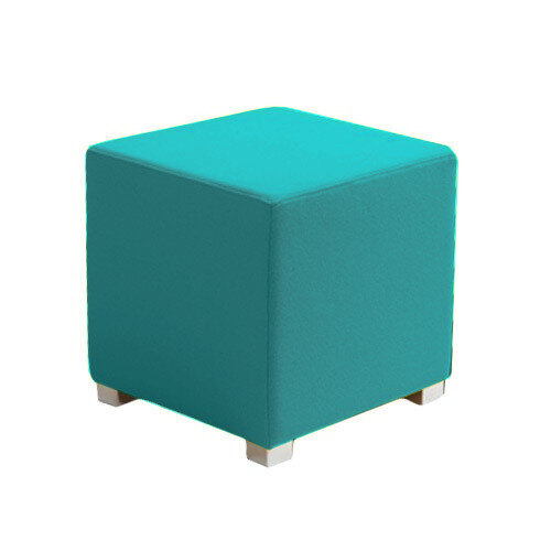 Link Cube Stool Blue - Fully Upholstered in Durable Fabric, Part of LINK Modular Soft Seating Range