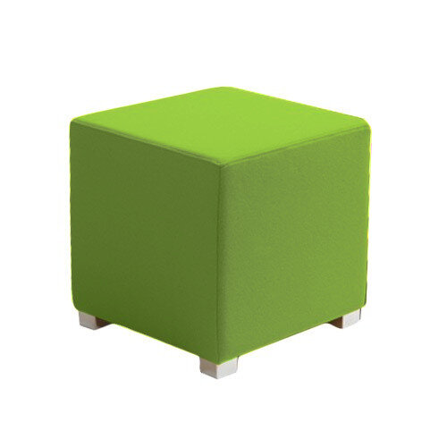Link Cube Stool Green - Fully Upholstered in Durable Fabric, Part of LINK Modular Soft Seating Range