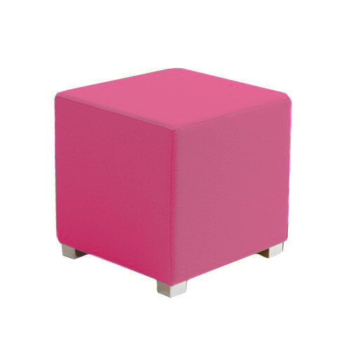 Link Cube Stool Pink - Fully Upholstered in Durable Fabric, Part of LINK Modular Soft Seating Range