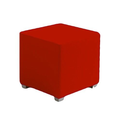 Link Cube Stool Red - Fully Upholstered in Durable Fabric, Part of LINK Modular Soft Seating Range