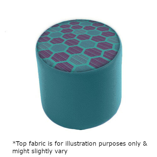 Link Radius Circular Stool Blue - Fully Upholstered in Durable 2 Tone Fabric, Part of LINK Modular Soft Seating Range