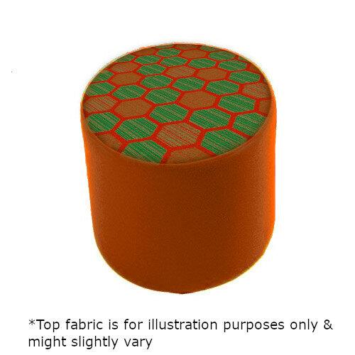 Link Radius Circular Stool Orange - Fully Upholstered in Durable 2 Tone Fabric, Part of LINK Modular Soft Seating Range