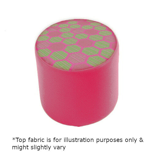Link Radius Circular Stool Pink - Fully Upholstered in Durable 2 Tone Fabric, Part of LINK Modular Soft Seating Range