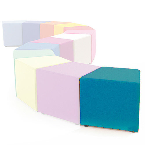 Link Segment Angled Cube Stool Blue - Fully Upholstered in Durable Fabric, Part of LINK Modular Soft Seating Range