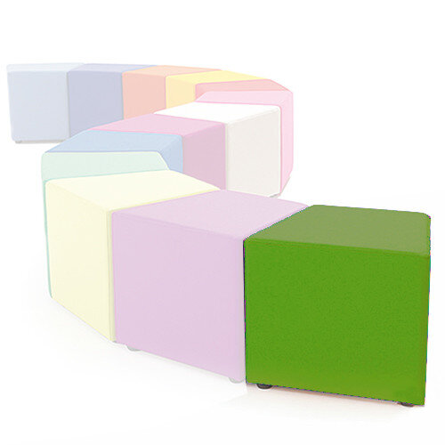 Link Segment Angled Cube Stool Green - Fully Upholstered in Durable Fabric, Part of LINK Modular Soft Seating Range