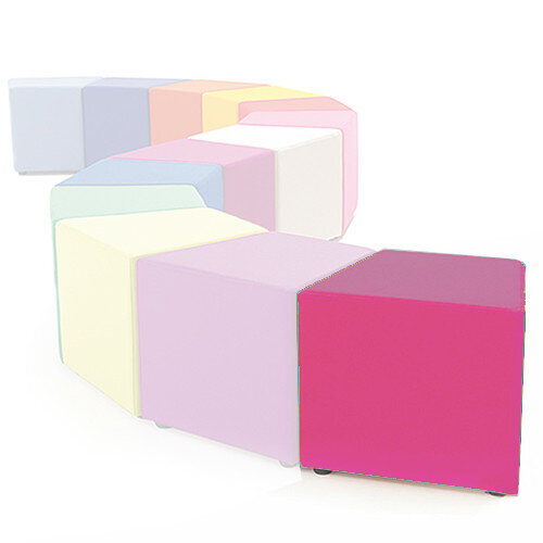 Link Segment Angled Cube Stool Pink - Fully Upholstered in Durable Fabric, Part of LINK Modular Soft Seating Range