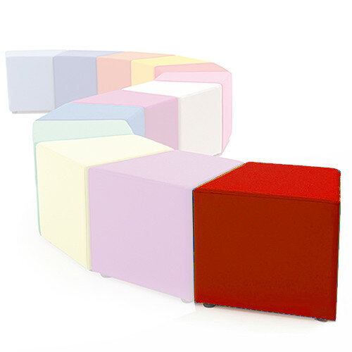 Link Segment Angled Cube Stool Red - Fully Upholstered in Durable Fabric, Part of LINK Modular Soft Seating Range
