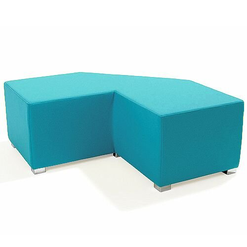Link Tangent Right Angle Bench Blue - Fully Upholstered in Durable Fabric, Part of LINK Modular Soft Seating Range