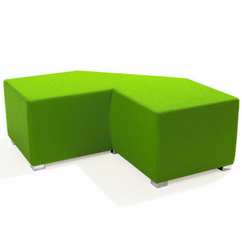 Link Tangent Right Angle Bench Green - Fully Upholstered in Durable Fabric, Part of LINK Modular Soft Seating Range