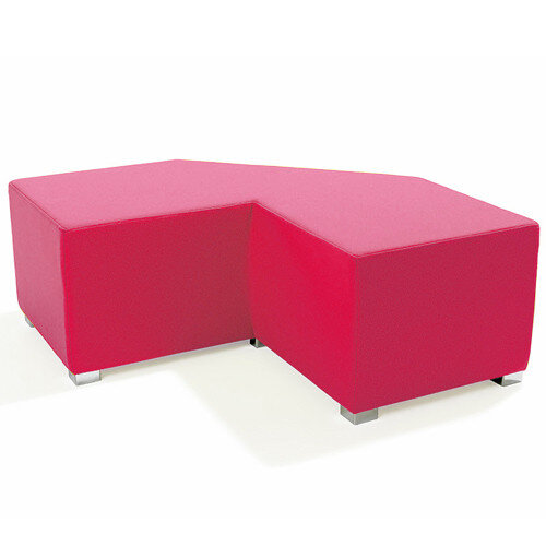 Link Tangent Right Angle Bench Pink - Fully Upholstered in Durable Fabric, Part of LINK Modular Soft Seating Range