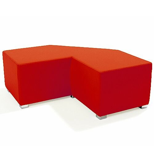 Link Tangent Right Angle Bench Red - Fully Upholstered in Durable Fabric, Part of LINK Modular Soft Seating Range