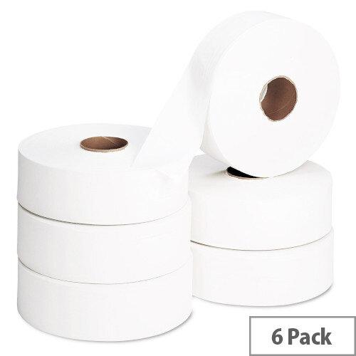 2Work Jumbo 60mm Core Dispenser Dispenser Toilet Paper Rolls Refills 2-Ply 410m White Pack of 6 J26410