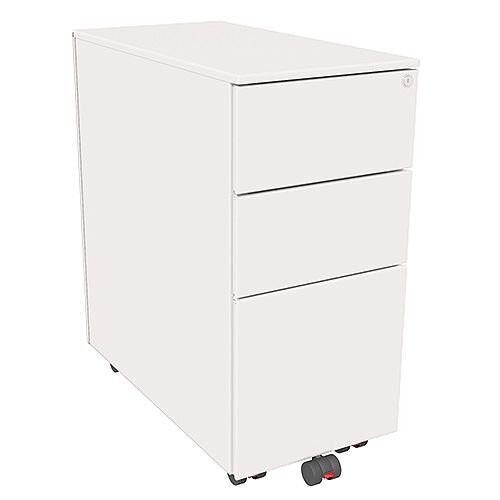 Slimline Mobile Steel Pedestal With 2 Stationery &1 Filing Drawer 300mm Wide White Kito X-Series
