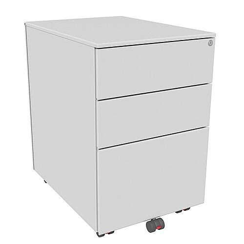 Mobile Steel Pedestal With 2 Stationery &1 Filing Drawer 390mm Wide Silver Kito X-Series