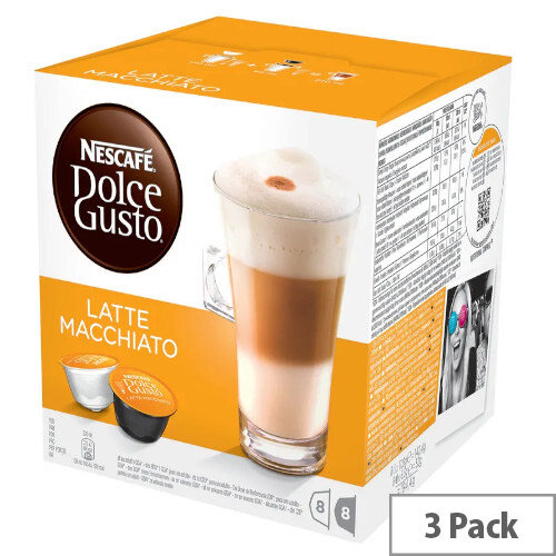 Nescafe Latte Macchiato for Dolce Gusto Machine Capsules - Makes 24 Drinks Full Bodied Flavour with Velvety Crema, Special Blend of Both Smooth and Fruity South American Arabica Premium Coffee, Frothy Whole Milk