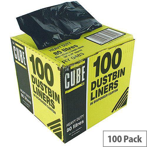 Le Cube Black 80L Dustbin Liner Dispenser Pack of 100 0483