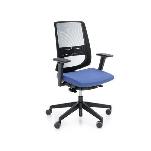 lightup modern design mesh office chair with lumbar support adjustable arms blue fabric seat