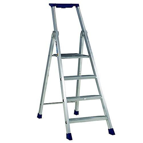 4 Ribbed Tread Platform Step Ladder Aluminium Platform Height 890Mm Capacity 150Kg 358754