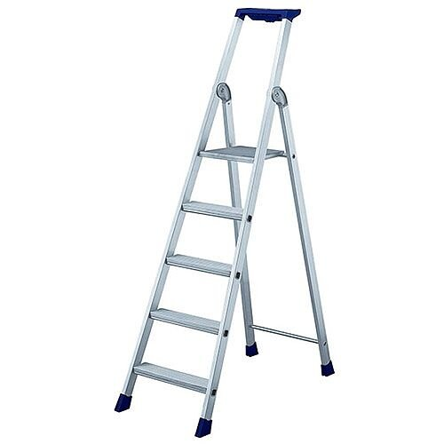 5 Ribbed Tread Platform Step Ladder Aluminium Platform Height 1.12M Capacity 150Kg 358755