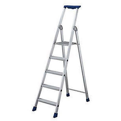 6 Ribbed Tread Platform Step Ladder Aluminium Platform Height 1.35M Capacity 150Kg 358756