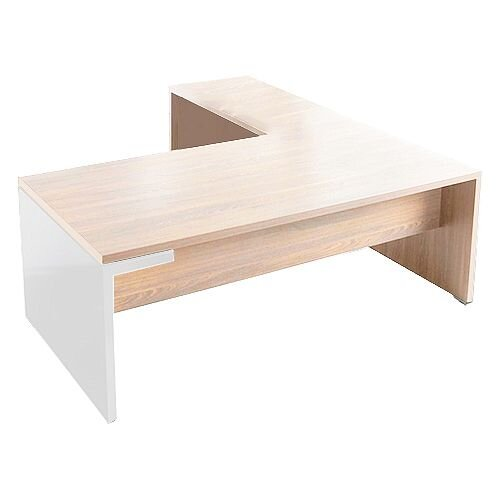 Mito Executive Desk 2000mm With Left Hand Desk Return Light Sycamore &White