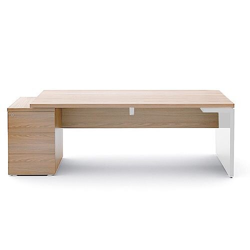 Mito Executive Desk With Left Hand Pedestal 2020mm Light Sycamore &White