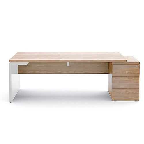 Mito Executive Desk With Right Hand Pedestal 2020mm Light Sycamore &White