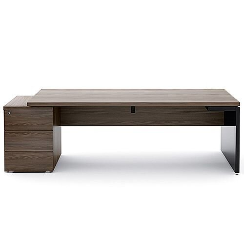 Mito Executive Desk With Left Hand Pedestal 2220mm Dark Sycamore &Black