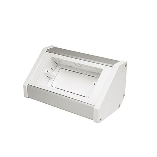 2 Gang Silver / White Bench Trunking Unit - White