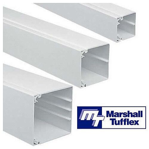 75mm x 75mm PVC Maxi Trunking 3m lgth - White