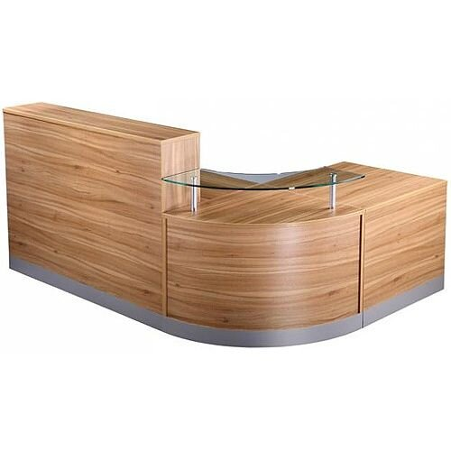 Complete Curved Reception Unit American Black Walnut Finish With Glass Counter