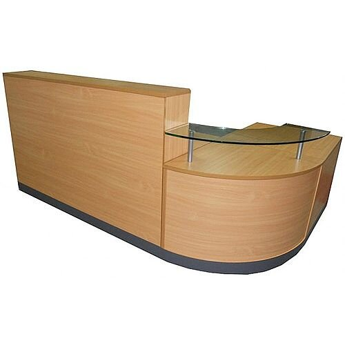 Complete Curved Reception Unit Beech Finish With Glass Counter