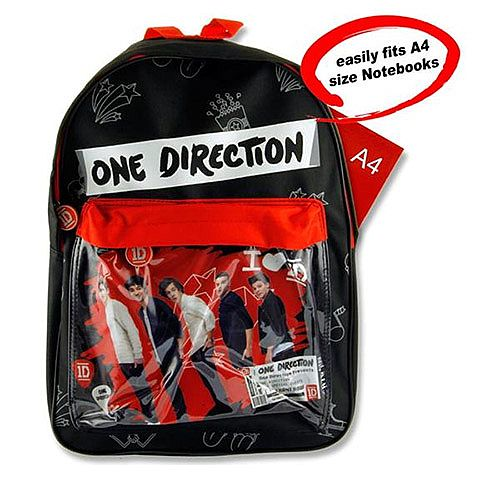 One Direction School Bag Back Pack - Easily Fits A4 Size Notepads