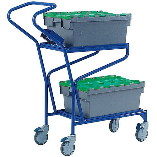 Order Picking Trolley Blue With 2 Shelf Levels 321870