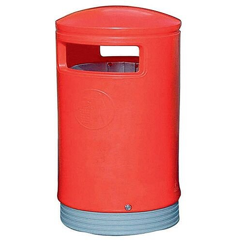 Outdoor Hooded Top Litter Bin 75 Litre Red 321773 124496