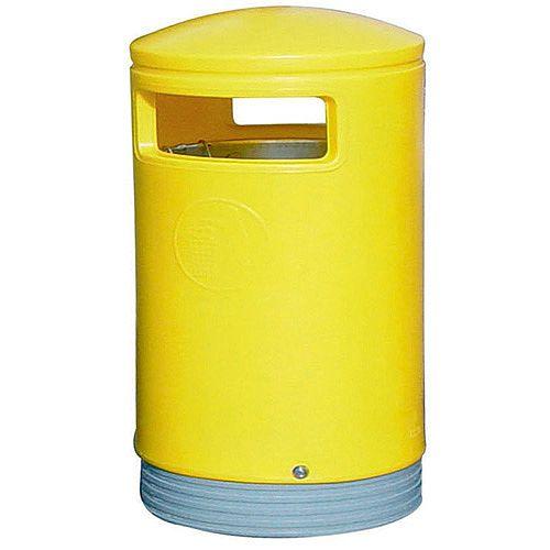 Outdoor Hooded Top Litter Bin 75 Litre Yellow 321774 124497