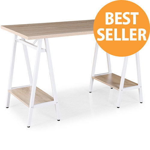 Pella Home Office Workstation With Trestle Legs Windsor Oak Desktop with White Frame W1200xD600xH760mm