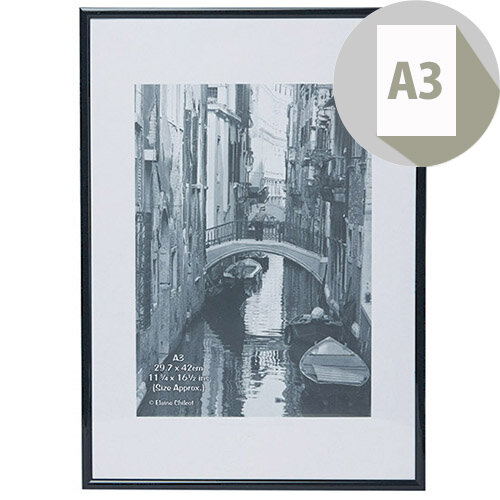 Elegant Wall Mounting A3 Aluminium Non-Glass Frame Black Ideal For Photographs, Documents &Certificates - Perfect For Professional Displays