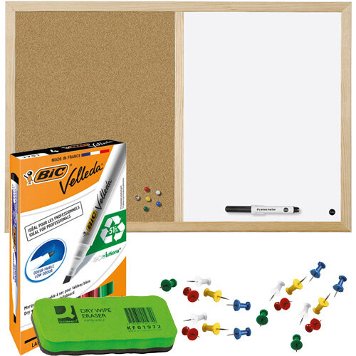 Pin Board Home Office Bundle - Cork and Drywipe Combination Board 900x600mm &Whiteboard Marker Pk 4 &Push Pins Pk 20 &Drywipe Eraser