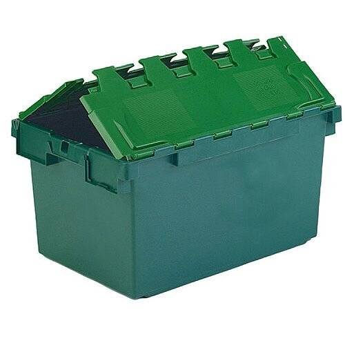 Plastic Container Attached Lid Green 374370
