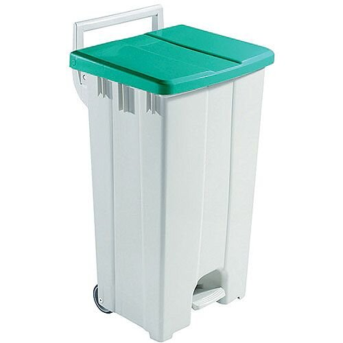 Plastic Pedal Bin with Lid 90 Litre Grey/Green 357005