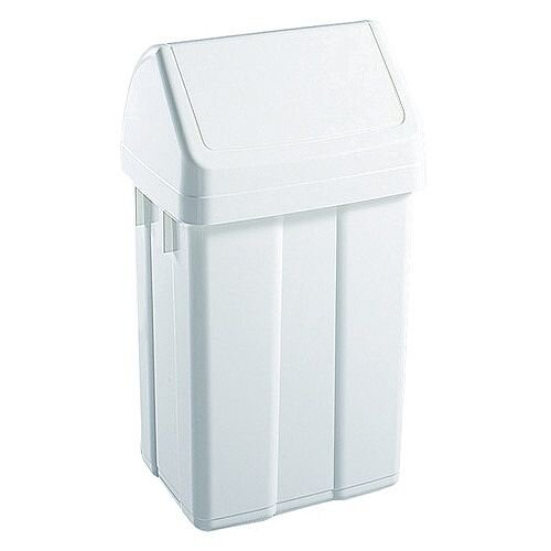 Plastic Swing Top Bin 50 Litre White 365144