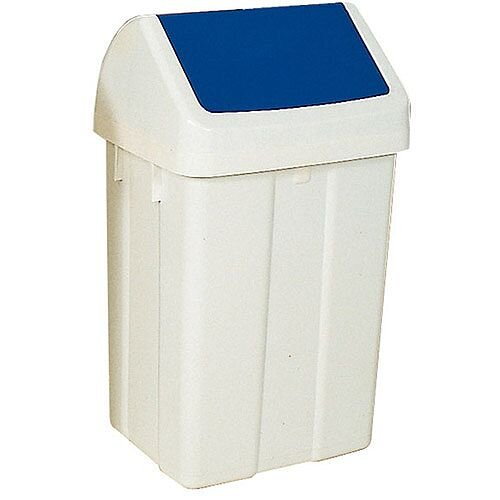 Plastic Swing Top Bin 50 Litre White/Blue 330350
